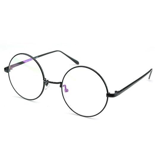 7b27a079f7f PenSee Circle Oversized Metal Eyeglasses Frame Inspired Horned Rim Clear  Lens Glasses (Black)