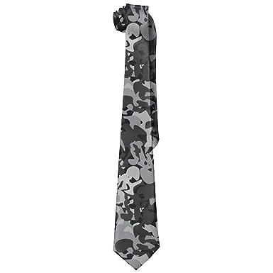Xukmefat Patrón militar gris para hombre corbatas de seda de moda ...
