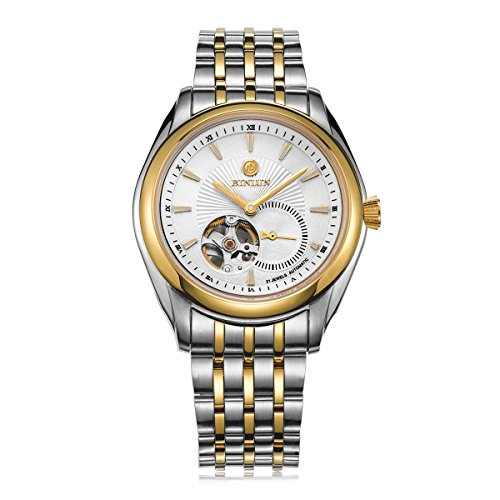 BINLUN Gold Pated Skeleton Watch Waterproof Automatic Watches for Men with Two Tone Stainless Steel Band by BINLUN