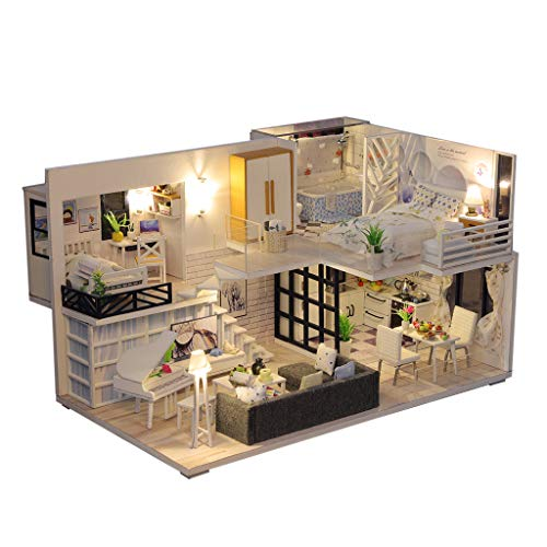 Luonita DIY Miniature Dollhouse Kit with Light Furniture 1:24 Scale Creative Room Idea Loft Handmade House Gift for Birthday Mothers Day Party Boy Girl (Tranquil Life) (Tranquil Life, No Dust Cover)