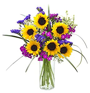Mother's Day Collection: Harmony Hearts Mixed Bouquet of Sunflowers, Dianthus, Statices, Green Mist and Lush Bear Grass with Vase - by KaBloom