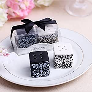 Wedding Favor Gift Damask Ceramic Salt Pepper Shakers