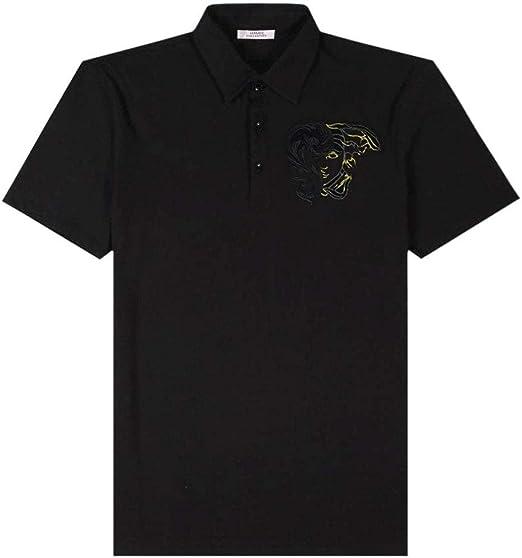 Versace colección Half Medusa Polo Negro Black Small: Amazon.es ...