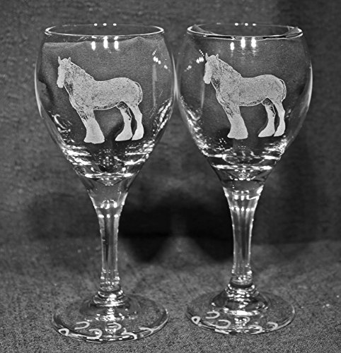 Muddy Creek Reflection Clydesdale Horse Laser Etched Wine Glass Set (2, TDW)