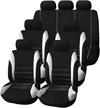 7Seater Pink Black 3 Row Fabric Seat Covers w//1Steering Wheel /& 4Seat Belt Pads