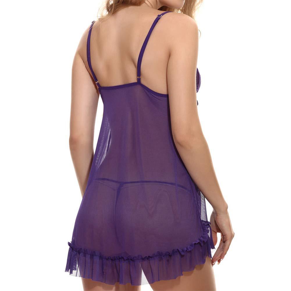 Women Lace Babydoll Lingerie Sheer Mesh Chemise Open Back Sleepwear Purple by Kirbyates_Women's Lingerie (Image #5)