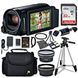 Canon VIXIA HF R82 Camcorder with Sandisk 32 GB SD Memory Card + 2.2x Telephoto Lens + 0.42x Wideangle Lens + Extra Accessory Bundle