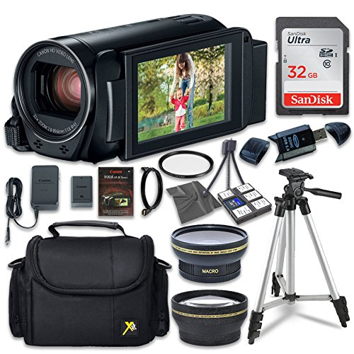 Canon VIXIA HF R82 Camcorder with Sandisk 32 GB SD Memory Card + 2.2x Telephoto Lens + 0.42x Wideangle Lens + Extra Accessory Bundle by Canon