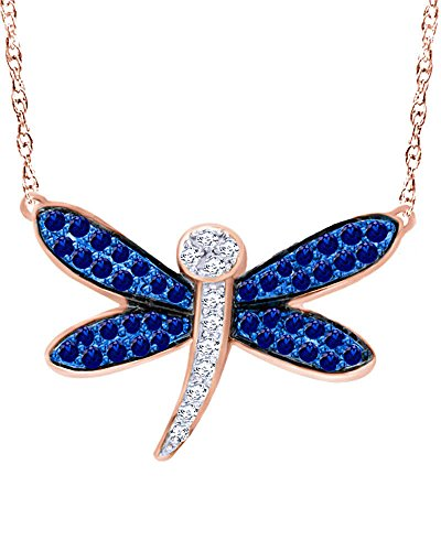 Wishrocks Round Cut Simulated Blue and White Sapphire Dragonfly Necklace in 10K Gold