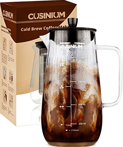 - Cold Brew Iced Coffee Maker - 1 Quart Iced Brewed Tea Maker - Glass Coffee Carafe - Fruit infuser pitcher - Includes Scoop & Clip Spoon
