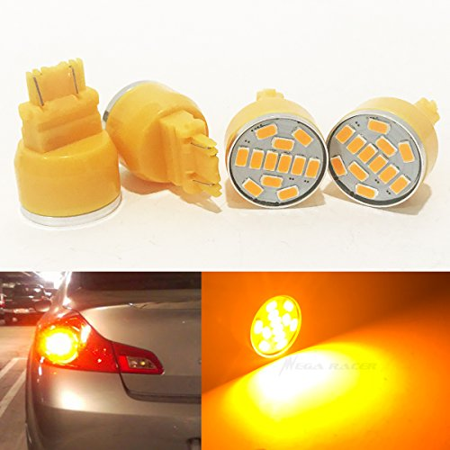 - Mega Racer Combo 2 Pair 3157 Rear Turn Signal Light Bulb Amber-Yellow LED 19 Chip P27/7W W2.5x16Q WU2.5q T25 3057 3156 3357 4157 US