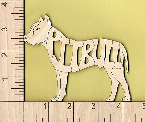 (Pit Bull Terrier cropped ears Dog laser cut and engraved wood Magnet)