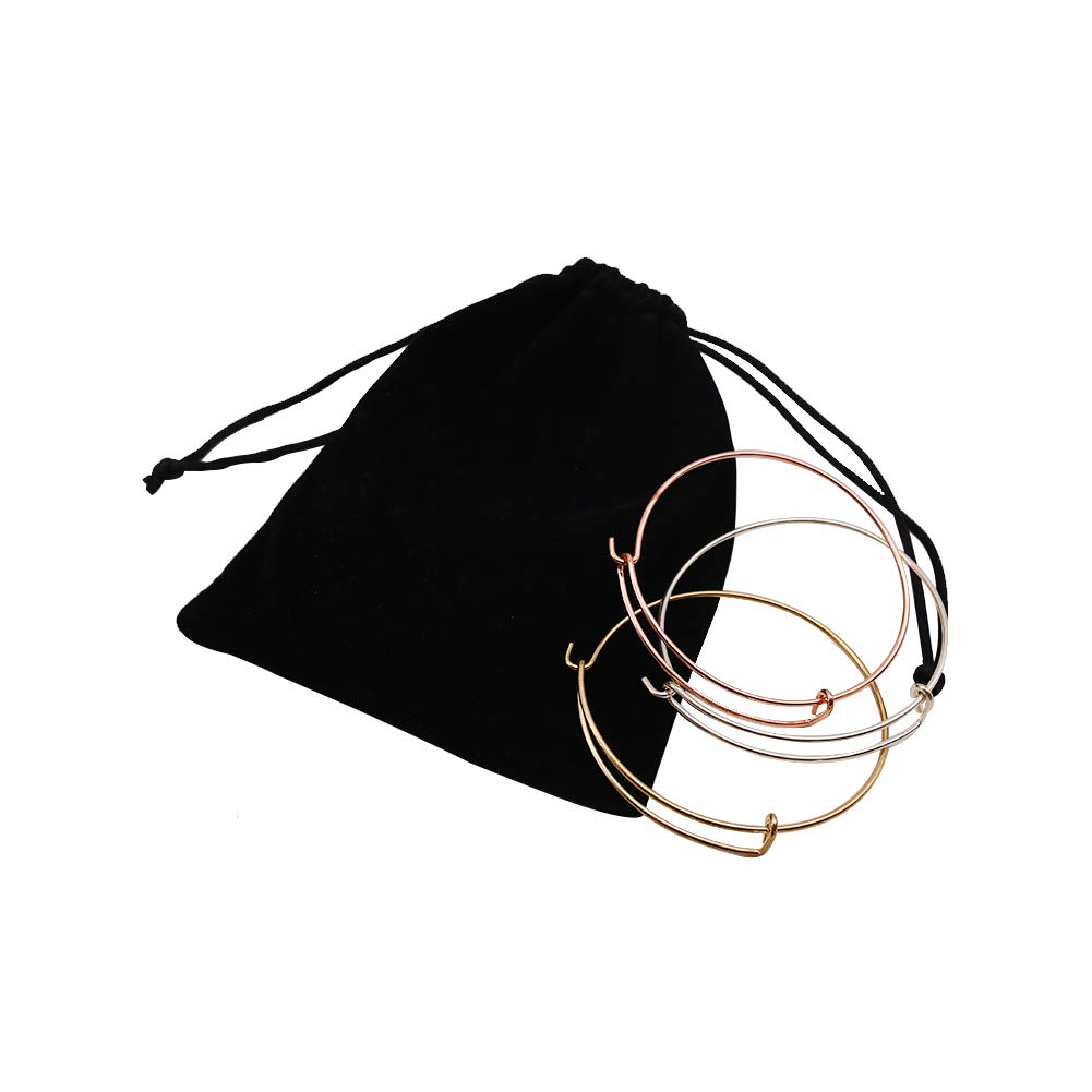15PCS Bangle Bracelet, Adjustable Wire Bracelet Bulk Chain for Jewelry Making (Silver, Gold and Rose Gold)