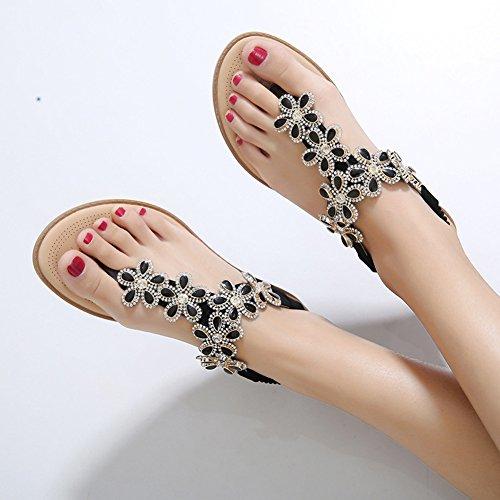 Minetom Mujer Verano Moda T-Correa Flores Del Rhinestone Sandalias Estilo Bohemio Chanclas Peep Toe Plana Zapatos Zapatillas Negro