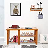 "Dporticus Natural Bamboo Shoe Bench 2-Tier Boot Storage Racks Shelf Footwear Organizer Seat 34.65""x 11"" x 17.7""(L x W x H)"