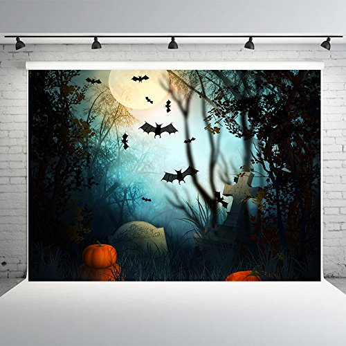 7x5ft Halloween Photo Backdrop Vinyl Pumpkins and Gravestone Background for Photography Party Decorations]()