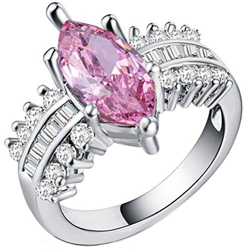 Chen Dick 925 Sterling Silver 3ct Marquise Cut Pink Cubic Zirconia Cocktail Enagement Ring,Size 10