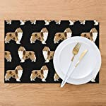 Gao808yuniqi Rough Collie Dog 3D Printed Tableware Mat,Placemats Set of 6,18 X 12,Snack Placemats,Beverage Placemats,Party Placemats for Dining Table,Kitchen Drink Placemat 9