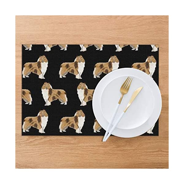 Gao808yuniqi Rough Collie Dog 3D Printed Tableware Mat,Placemats Set of 6,18 X 12,Snack Placemats,Beverage Placemats,Party Placemats for Dining Table,Kitchen Drink Placemat 4
