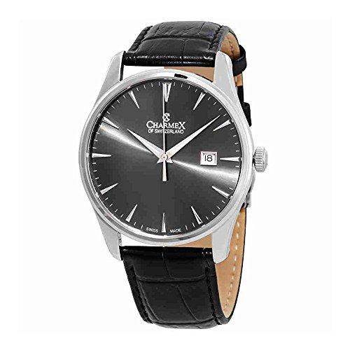 Charmex Grey Dial Black Leather Mens Watch 2948