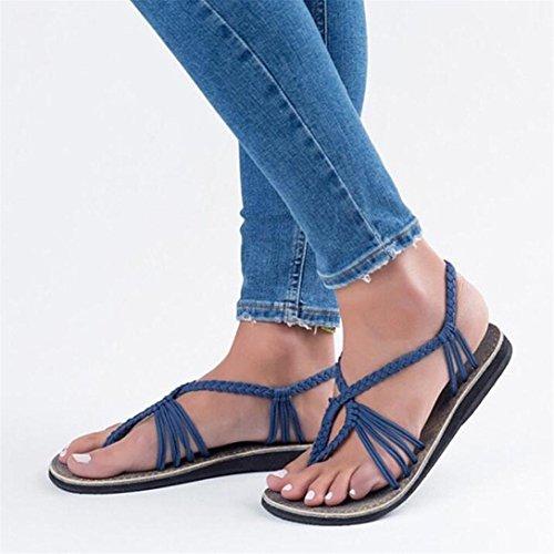 Blu Flip Traverse Romane Pantofole Flops Kword Scarpe Da Donna Intrecciato Spiaggia Sandali Ragazze Estate wYqOpIx