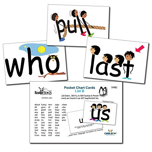 SnapWords List B Sight Word Pocket Chart Cards