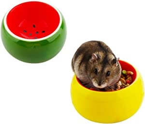 2 Pcs Ceramic Hamster Bowl, Small Animal Food Bowl and Water Dish Feeder for Hedgehog Hamster Guinea Pig Sugar Glider Rat Gerbil Mice Chinchilla Rodent