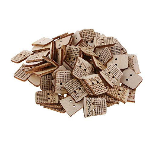 100Pcs 2-Holes Wooden Multiple Pattern Button Fit for Sewing Crafts Supplies | Color - Bobbin