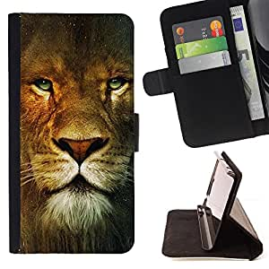 DEVIL CASE - FOR Sony Xperia M2 - Lion Portrait Green Eyes Wild Big Cat Africa - Style PU Leather Case Wallet Flip Stand Flap Closure Cover