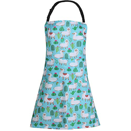 MissOwl Adjustable Bib Apron Extra Long Ties with Pockets Home Kitchen Cooking Baking Gardening Apron for Women Men Alpaca