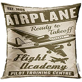 Emvency Throw Pillow Cover Old Flight Academy Vintage for Institution Layered with Airplane Headline Text and Grunge Retro Decorative Pillow Case Home Decor Square 18x18 Inches Pillowcase