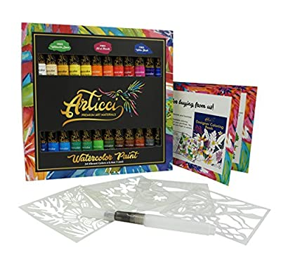 Articci Watercolor Paint Set Artists Quality Vibrant 24 Colors Liquid Tubes NonToxic Painting Kit for Adults Students Beginners Professional + FREE Water Brush, Art Lesson, Stencil & Coloring Book