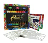 Watercolor Paint Set + Water Brush. Vibrant 24 Colors Artists Quality Liquid Tubes by Articci NonToxic Painting Kit for Adults Kids Students Professionals Beginners + Stencil & Coloring Book