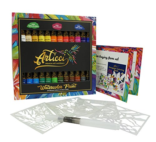 Set Wide Workstation (Watercolor Paint Set + Water Brush. Vibrant 24 Colors Artists Quality Liquid Tubes by Articci NonToxic Painting Kit for Adults Kids Students Professionals Beginners + Stencil & Coloring Book)