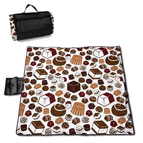 XKAWPC Chocolate Pattern Family Picnic Blanket with Tote 57''x59'' Beach Mat Sandproof and Waterproof for Picnic, Beaches, RVing and Outings
