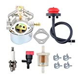 HIPA 640052 Carburetor + Primer Bulb Fuel Filter for Tecumseh HMSK80 HMSK85 HMSK90 HMSK100 HMSK105 HMSK110 LH318SA LH358SA Snow Blower Thrower 640054 640349 8HP 9HP 10HP Engine