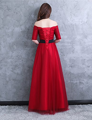 Damen LuckyShe Ballkleid 3 Lang 4 2018 Rot Tüll mit Abendkleider Ärmel Elegant aAdSq