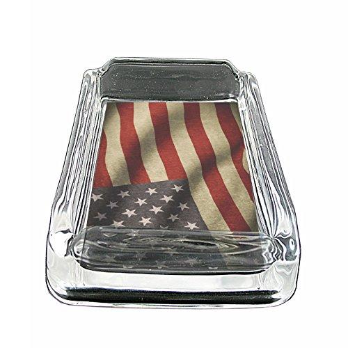 American Flag USA S11 Glass Square Ashtray 4