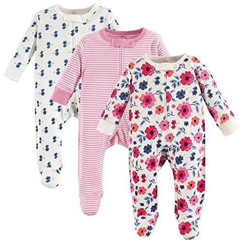 Touched by Nature Unisex Baby Organic Cotton Sleep and Play, Garden Floral 3-Pack, 0-3 Months -