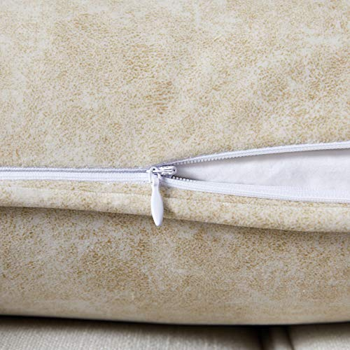"""Longhui bedding Cream Throw Pillow Covers, Set of 2 – 18"""" x 18"""" Cushion Covers with Zipper Closures – Decorative Pillow for Couch Sofa Bed, 100% Polyester, not Leather"""