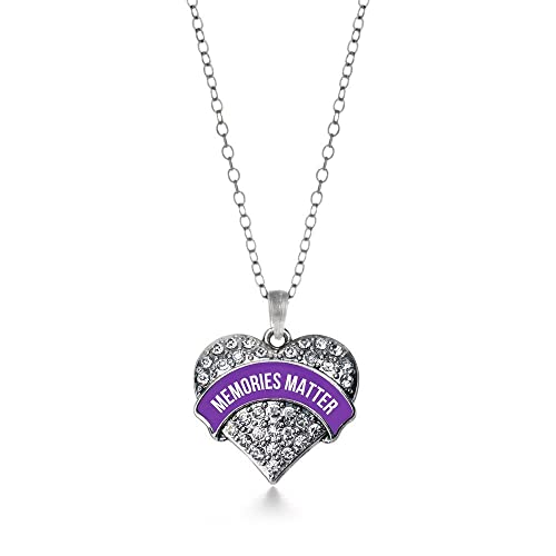 173909a4be3 Image Unavailable. Image not available for. Color: Inspired Silver Memories  Matter Alzheimer's Awareness Pave Heart Charm Necklace ...