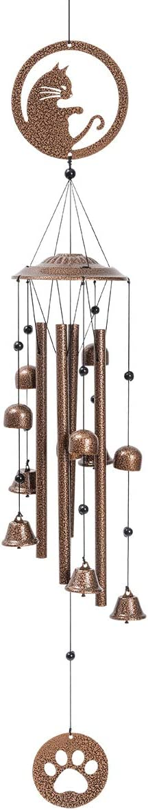 N / A Z&L House Cats Wind Chime 4 Tubes - 5 Bells Wind Chime with S Hook for Indoor and Outdoor Porch Decor Deep Tone Sympathy