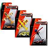 Matchbox Land Sea & Air Set & Helicopter + 3 pack Plane Fire Department, Rescue Truck & Jungle Jeep
