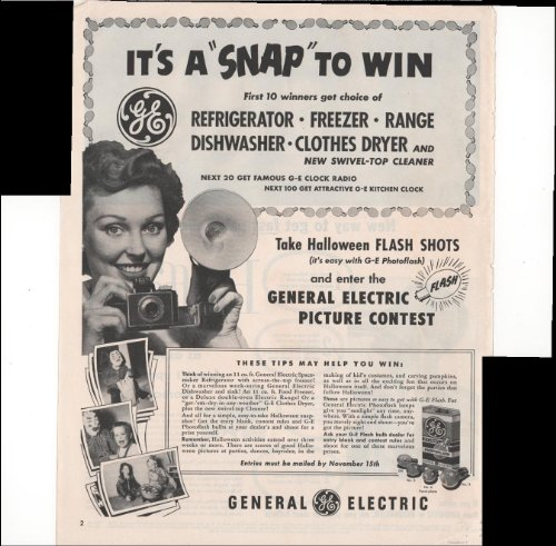 (General Electric Picture Contest Halloween 1952 Vintage Antique)