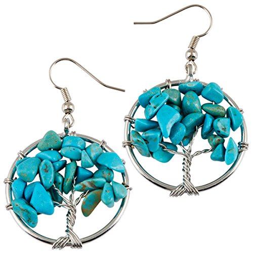 Stone Bead Chip Turquoise Earrings - SUNYIK Blue Howlite Turqouise Tree of Life Dangle Earrings for Women(Silver Plated)