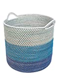 KOUBOO 1060099 Laguna Round Rattan Storage Basket with Ear Handles, Blue/Teal