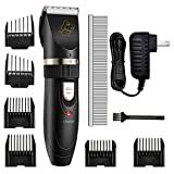 Dog Clippers Cat Shaver, TOPELEK Electric Pet Hair Clipper Low Noise Low Vibration, Rechargeable Cordless Grooming Trimmer Kit Thick Long Haired Dog Cat(Black)