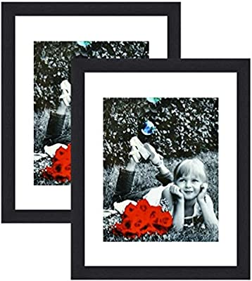 "Tasse Verre 11x14 Picture Frame - HIGH Definition Glass Front Cover - Displays 11 by 14"" Picture w/o Mat or an 8x10 Photo w/Mat - Vertical or Horizontal Mounts & Ready to Hang"