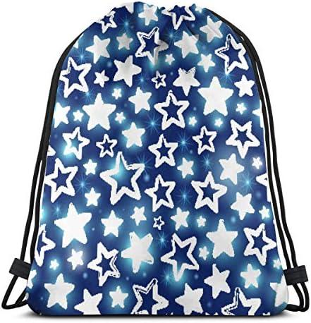 ブルージムサックバッグのドローストリングバックパックスポーツバッグのスターパターンを輝く男性&女性の学校旅行バックパック36 x 43cm