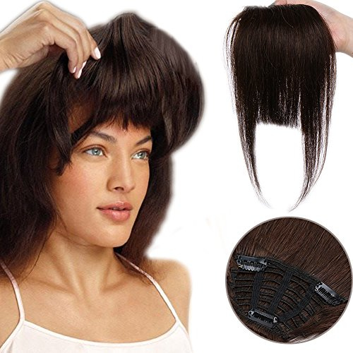 Human Hair Clip in Fringe Bangs Invisible Front Hair Extensions Straight  One Piece Hair Extension 100% Remy Real Hairpiece for Women ( 2 Dark  Brown 9da145430b